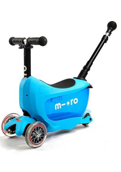 MINI2GO Deluxe Azul - Patinete, Correpasillos y Cajon para sus tesoros Incluye stick telescopico para empujar