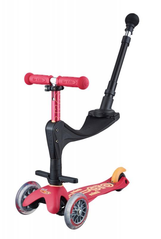 MINI MICRO 3en1 DELUXE+ ROJO RUBI - Mini Micro Deluxe con asiento, reposapies y baston de empuje