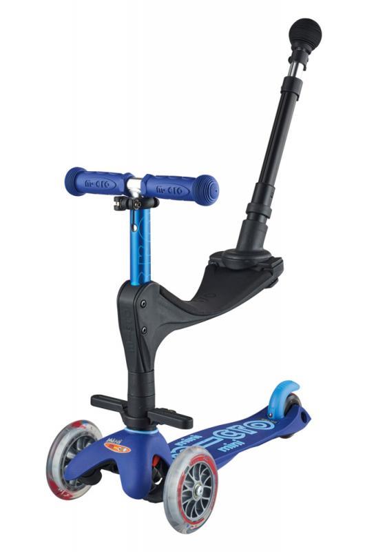 MINI MICRO 3en1 DELUXE+ AZUL - Mini Micro Deluxe con asiento, reposapies y baston de empuje