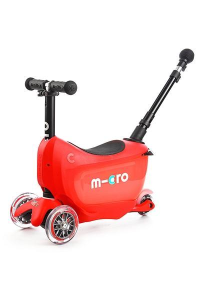 MINI2GO Deluxe Rojo - Patinete, Correpasillos y Cajon para sus tesoros Ahora con stick telescopico para empujar