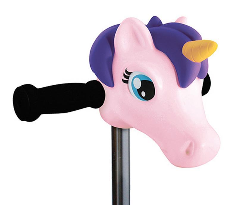 Cabeza Unicornio Rosa y Morado - Accesorio para el manillar de tu patinete Micro.