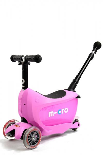 MINI2GO Deluxe Rosa - Patinete, Correpasillos y Cajon para sus tesoros Ahora con stick telescopico para empujar