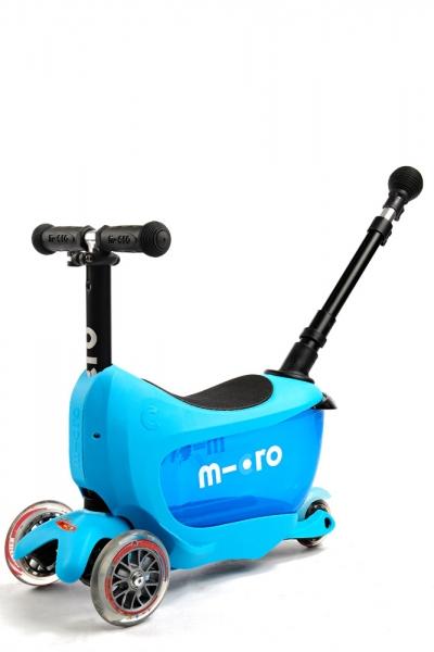 MINI2GO Deluxe Azul - Patinete, Correpasillos y Cajon para sus tesoros Ahora con stick telescopico para empujar